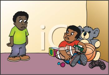 0511-1008-3119-0833_Selfish_Black_Child_Refusing_to_Share_His_Toys_with_Another_Boy_clipart_image